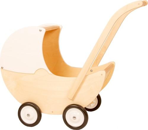 Van Dijk Toys Poppenwagen met vaste kap wit en blank