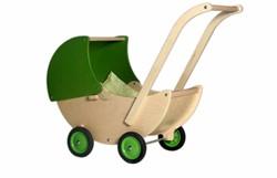 Van Dijk Toys  houten poppenmeubel Poppenwagen limegroen