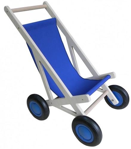 Van Dijk Toys houten poppenmeubel Poppenbuggy blauw