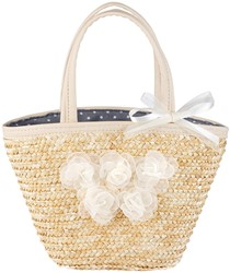 Souza - Sieraden - Bag Xanthe Off white, natural straw with off white flowers