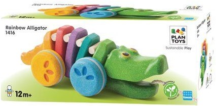 Plan Toys houten trekfiguur dancing alligator rainbow