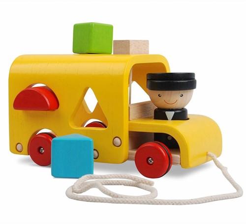 Plan Toys houten trekfiguur Sorteer schoolbus