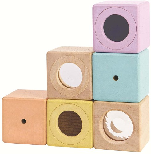 Plan Toys houten sensorische blokken pastel