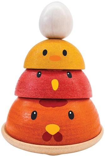 Plan Toys houten stapelfiguur kippennest