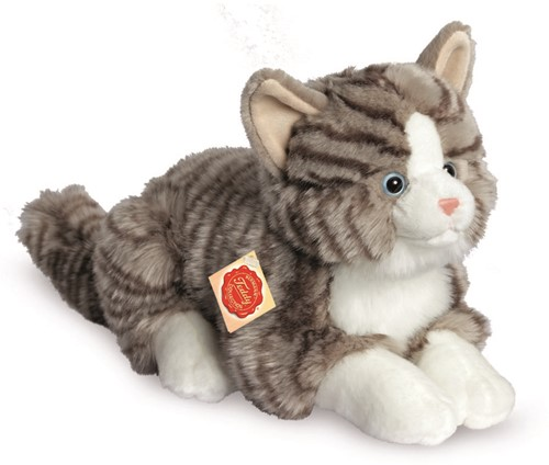 Hermann Teddy Katze liegend grau 30 cm