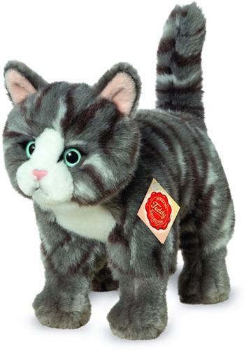 Hermann Teddy Katze stehend grau getigert 20 cm
