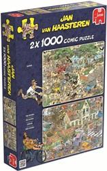 Jumbo Jan van Haasteren puzzel Safari & Storm 2in1 - 2x 1000 stukjes