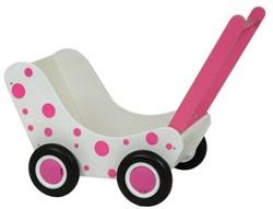 Van Dijk Toys  houten poppenmeubel Houten poppenwagen wit met roze stippen