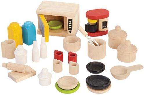 Plan Toys houten poppenhuis keukenaccessories