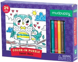Mudpuppy Inkleurpuzzel Lieve Uilen 24 stukjes & 5 Crayons