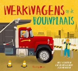 Kinderboek educatieboek werkwagens op de bouwplaats