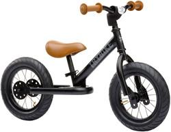 Trybike loopfiets staal mat zwart met bruine handvatten en zadel - tweewieler