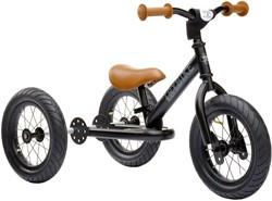 Trybike loopfiets 2-in-1 staal - Zwart met bruine handvatten en zadel