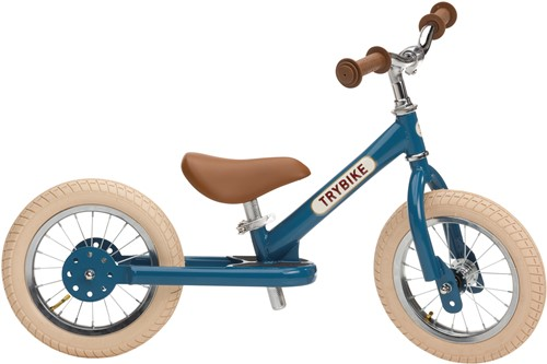 Trybike loopfiets staal vintage blauw - tweewieler
