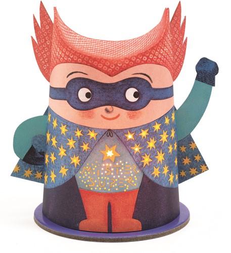 Djeco Mini Papieren Nachtlampje Mister Super
