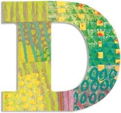 Djeco houten letter D - Peacock