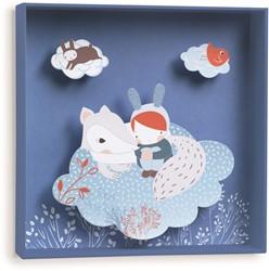 Djeco 3d schilderij White fox - 21x21x4cm