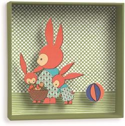 Djeco 3d schilderij Family rabbit - 18,5x18,5x4cm