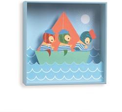 Djeco 3d schilderij Penguin sailors - 18,5x18,5x4cm