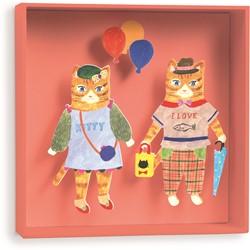 Djeco 3d schilderij Cats balloon - 18,5x18,5x4cm