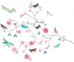 Djeco Stickers muraux moyens Arbre aux libellules 3D