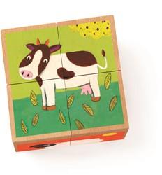 Djeco houten blokpuzzel Meuh & Co