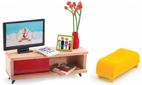 Djeco Poppenhuis Meubels TV Kamer