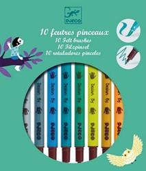 Djeco viltstiften 10 felt brushes - Tertiary colors