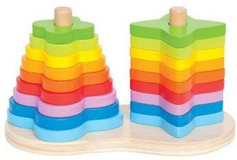Hape Dubbele regenboog stapelvormen - 19 onderdelen