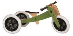 Wishbonebike  houten loopfiets 3-bikes-in-1 groen