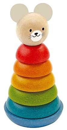 Plan Toys houten stapelfiguur met muis.