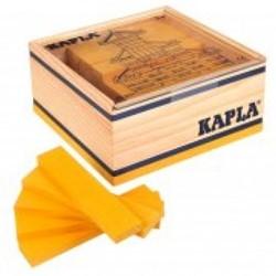 Kapla  houten bouwplankjes 40 geel in kistje
