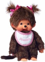 Monchhichi  knuffelpop Meisje met roze slab - 20 cm