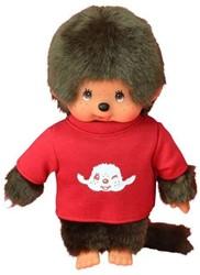 Monchhichi  knuffelpop Jongen met T-shirt Rood - 20 cm