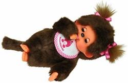 Monchhichi  knuffelpop Meisje Slaapogen met slab Roze - 20 cm