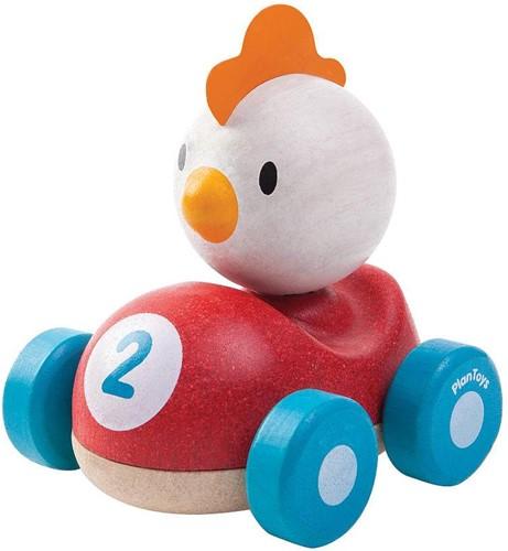 Plan Toys houten speelvoertuig race kip