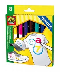 Ses  teken en verfspullen Textielstiften maxi 8 kleuren