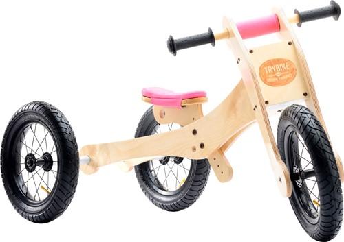 Trybike houten loopfiets 4 in 1 roze