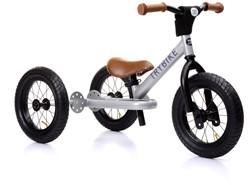 Trybike loopfiets 2-in1 staal zwart met bruine handvatten en zadel