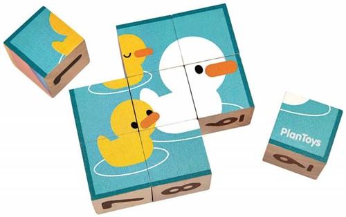 Plan Toys houten blokkenpuzzel met getallen en figuren - 9 blokken